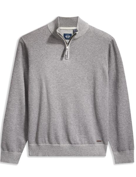 ALPHA PLAITED 1/4 ZIP B30 GRAY HEATHER-X