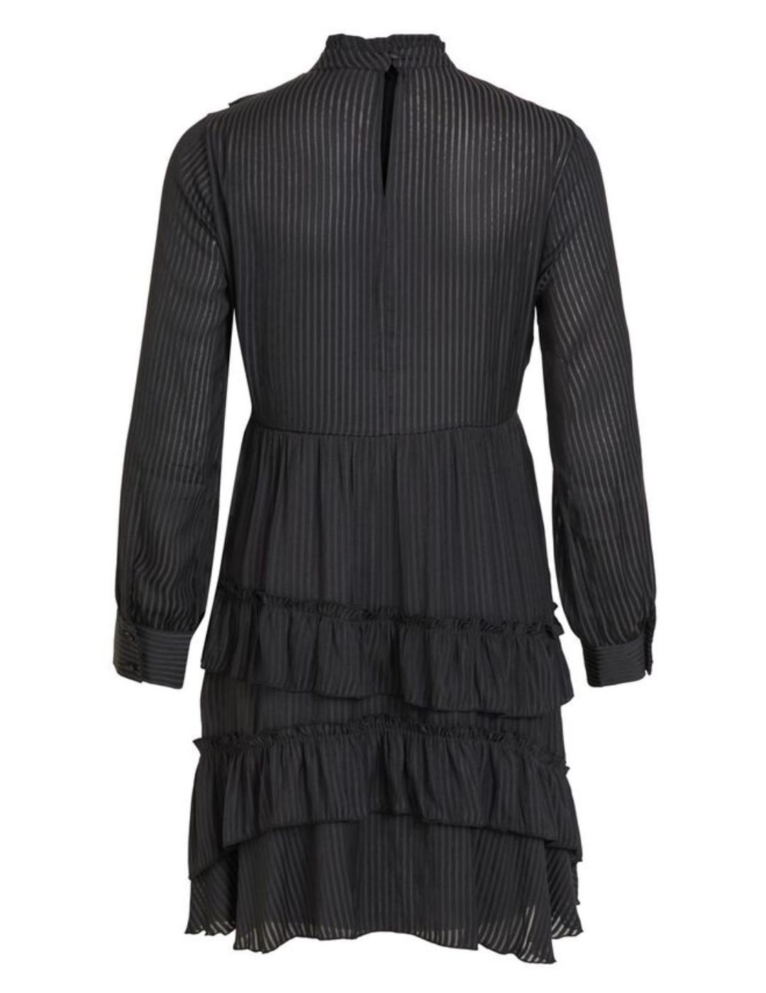VIANILLA L/S MIDI DRESS BLACK-X