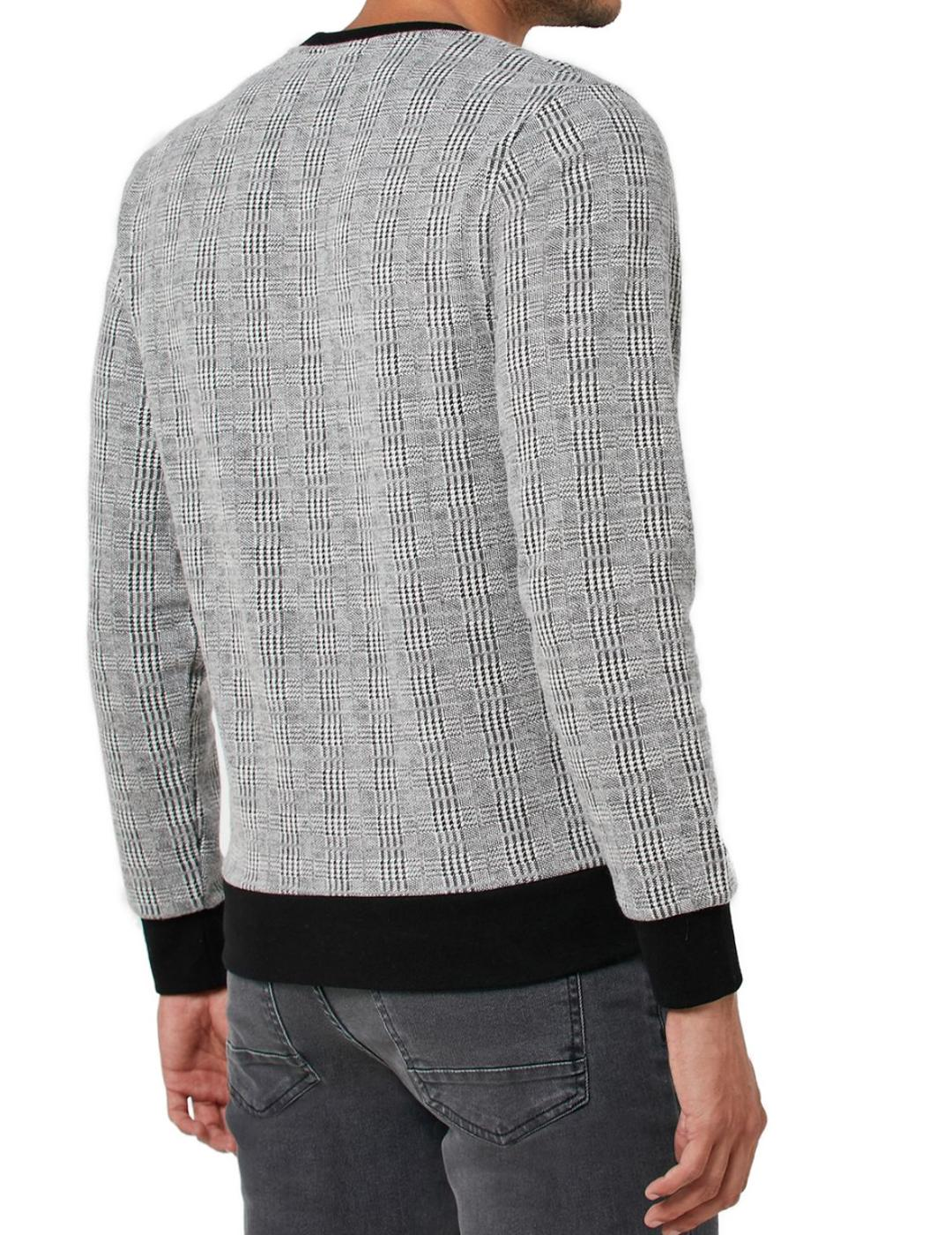 JPRCHRIS CHECK SWEAT CREW NECK GREY-W