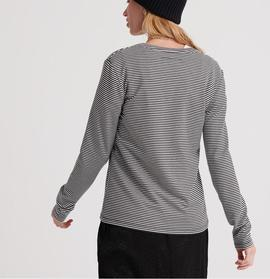 DUNNE STRIPE LS GRAPHIC TOP BLACK- V
