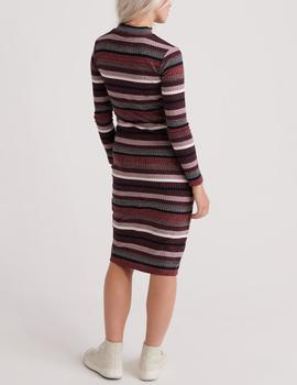 STRIPE RIB MIDI DRESS RED- V