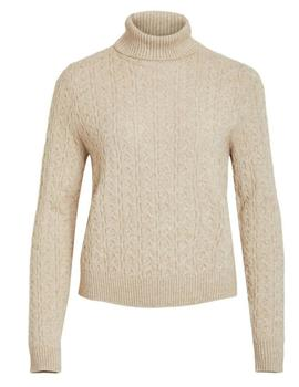 VIRIL KNIT L/S BOLLNECK CABLE TOP NATURE-V