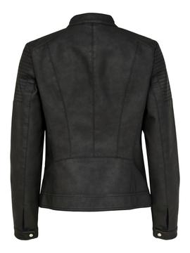 ONLMELANIE FAUX LEATHER JACKET BLACK-W