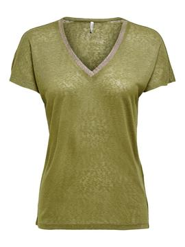 ONLRILEY S/S V-NECK GLITTER TOP-W