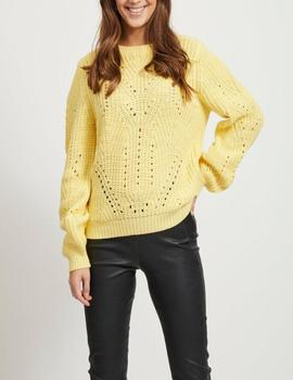 VIWISHKY KNIT O-NECK L/S TOP MELLOW-W