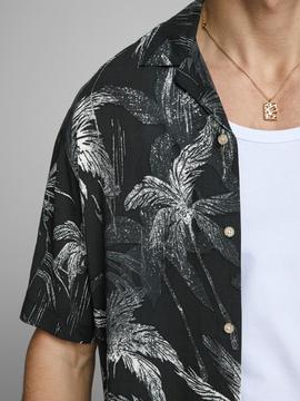 JORJERRY SHIRT SS BLK TAP PALMS- W
