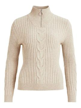 VIRIL KNIT FUNNEL ZIP NECK NATURAL-X