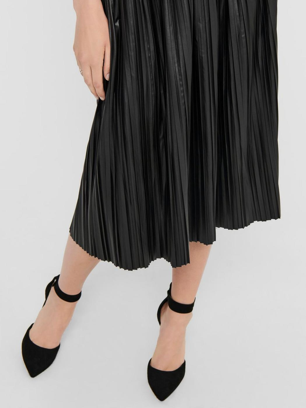 ONLMIE FAUX LEATHER MIDI PLEAT SKIRT OTW- X